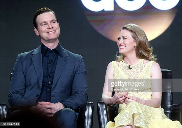 Actors Peter Krause and Mireille Enos of the television show 'The Catch' speak onstage during the DisneyABC portion of the 2017 Winter Television...