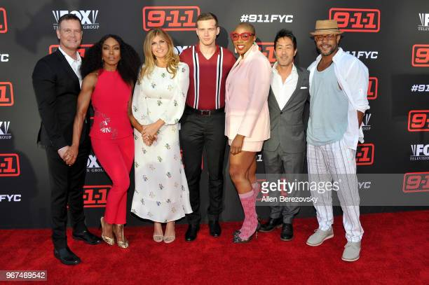 Actors Peter Krause Angela Bassett Connie Britton Oliver Stark Aisha Hinds Kenneth Choi and Rockmond Dunbar attend the FYC Event for Fox's 911 at...