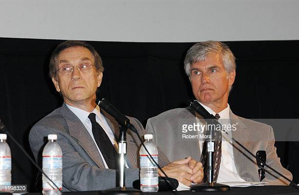 Actors Peter Mark Richman and Kent McCord attend the Entertainment Industry Ageism Press Conference at the Los Angeles Film School Theater on August...