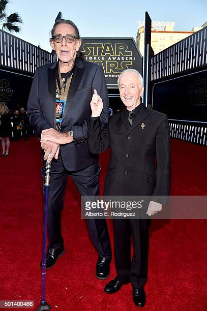 """Actors Peter Mayhew and Anthony Daniels attend the World Premiere of """"Star Wars The Force Awakens"""" at the Dolby El Capitan and TCL Theatres on..."""