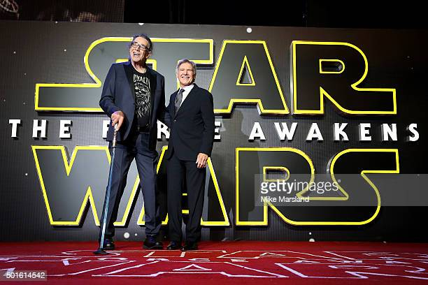 Actors Peter Mayhew and Harrison Ford attend the European Premiere of 'Star Wars The Force Awakens' at Leicester Square on December 16 2015 in London...