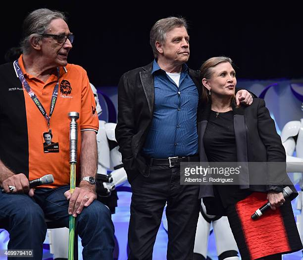 Actors Peter Mayhew Mark Hamill and Carrie Fisher speak onstage during Star Wars Celebration 2015 on April 16 2015 in Anaheim California