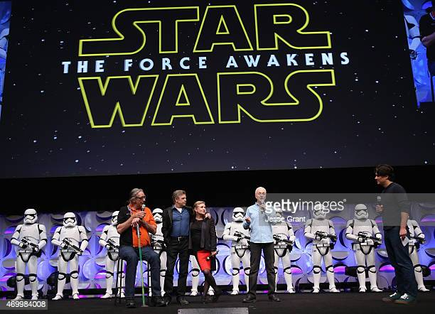 Actors Peter Mayhew Mark Hamill Carrie Fisher and Anthony Daniels and moderator Anthony Breznican speak onstage during Star Wars Celebration 2015 on...