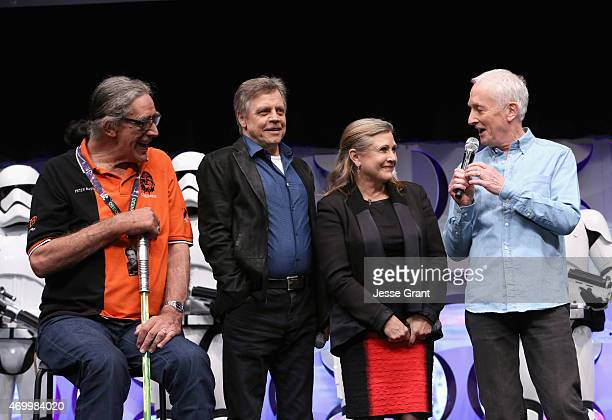 Actors Peter Mayhew Mark Hamill Carrie Fisher and Anthony Daniels speak onstage during Star Wars Celebration 2015 on April 16 2015 in Anaheim...