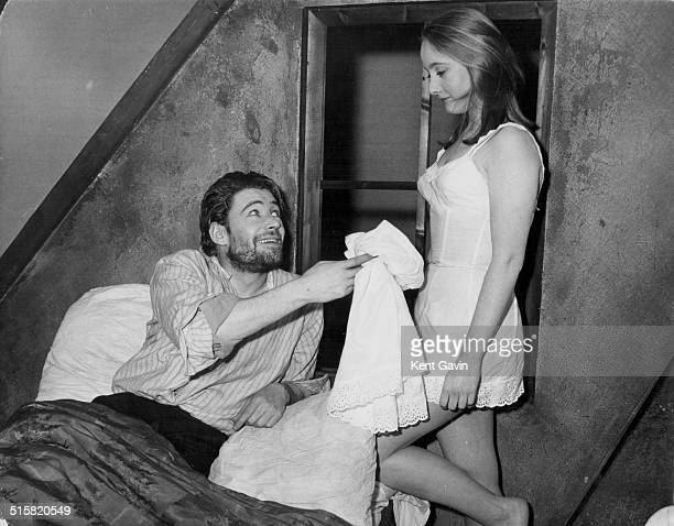 Actors Peter O'Toole and Gemma Jones in a scene from the play 'Baal' at the Phoenix Theatre London February 6th 1963