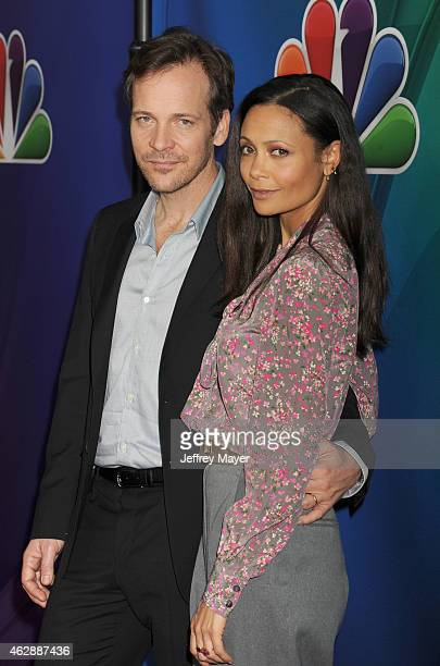 Actors Peter Sarsgaard and Thandie Newton attend the NBCUniversal 2015 Press Tour at the Langham Huntington Hotel on January 16 2015 in Pasadena...