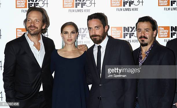 Actors Peter Sarsgaard Natalie Portman director Pablo Larrain and actor Max Casella attend the 54th New York Film Festival 'Jackie' screening on...