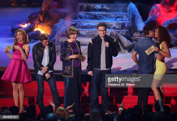 Actors Peyton McCormick Dave Franco Sandra Daubert Seth Rogen Zac Efron and Tiffany Luce speak onstage at the 2014 MTV Movie Awards at Nokia Theatre...