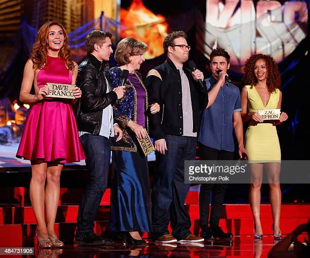 Actors Peyton McCormick Dave Franco Sandra Daubert Seth Rogen Zac Efron and Tiffany Luce speak onstage at the 2014 MTV Movie Awards at Nokia Theatre...