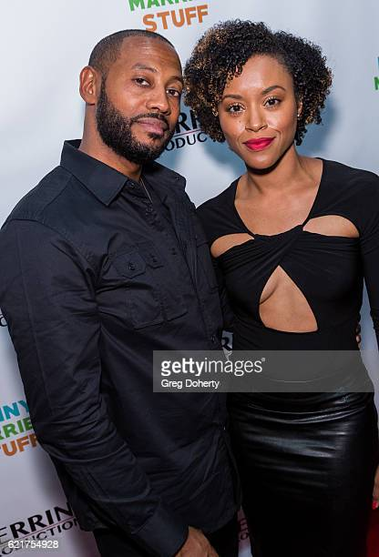 Actors Peyton Perrine and Lony'e Perrine arrive for the Screening Of Perrine Productions' 'Funny Married Stuff' at the ACME Comedy Theatre on...