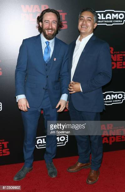 Actors Phil Burke and Alessandro Juliani attend the 'War For The Planet Of The Apes' New York premiere at SVA Theater on July 10 2017 in New York City