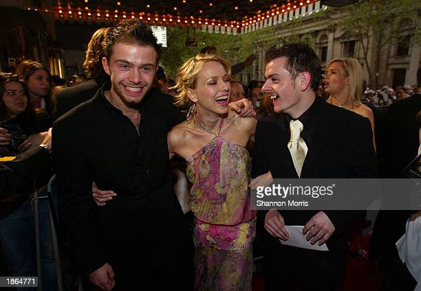 Actors Philip Barantini Naomi Watts and Laurence Kinlan attend the World Premiere of the film Ned Kelly March 22 2003 at the Regent Theatre in...