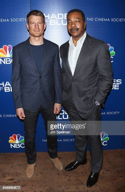 Actors Philip Winchester and Carl Weathers attend the season 2 premiere of 'Shades Of Blue' hosted by NBC and The Cinema Society at The Roxy on March...