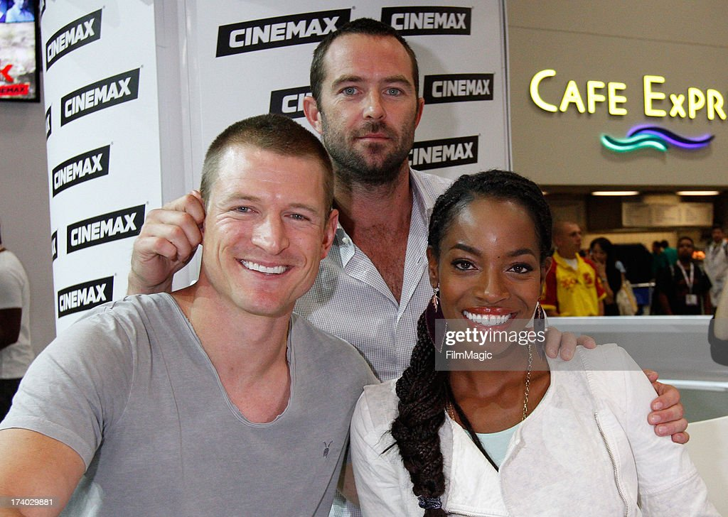 Actors Philip Winchester, Sullivan Stapleton and Milauna Jackson attend Cinemax's 'Strike Back' cast autograph signing at San Diego Convention Center on July 19, 2013 in San Diego, California.