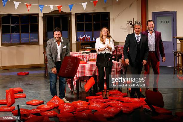 Actors Philippe Lellouche Vanessa Demouy David Brecourt and Christian Vadim during the traditional throw of cushions at the final of the L'appel de...
