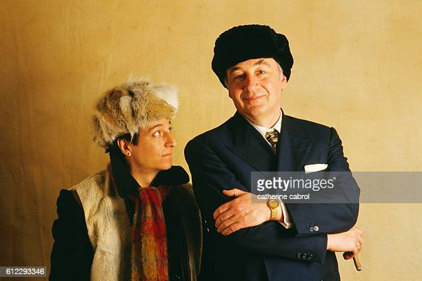 Actors Philippe Noiret and Christian Clavier on the movie set of Twist again à Moscou directed by JeanMarie Poiré