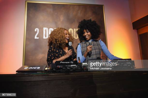 Actors Phoebe Robinson and Jessica Williams speak at HBO's '2 Dope Queens' Winter Soiree during Sundance at Riverhorse On Main on January 19 2018 in...