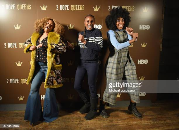 Actors Phoebe Robinson Issa Rae and Jessica Williams attend HBO's '2 Dope Queens' Winter Soiree during Sundance at Riverhorse On Main on January 19...