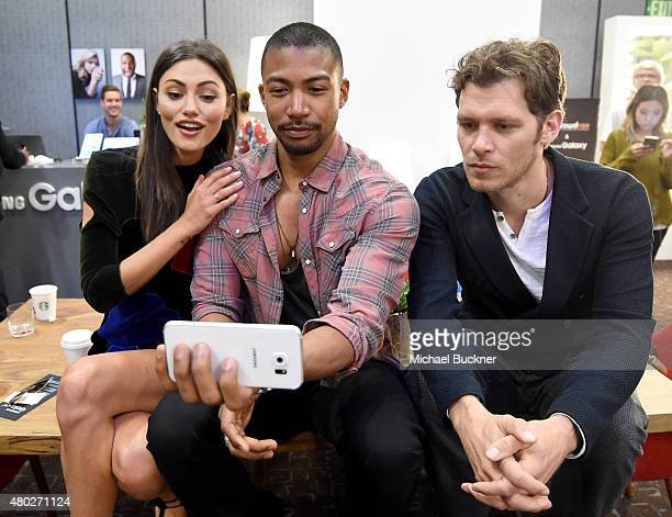 """Actors Phoebe Tonkin, Charles Michael Davis, and Joseph Morgan of """"The Originals"""" attend the Getty Images Portrait Studio powered by Samsung Galaxy..."""