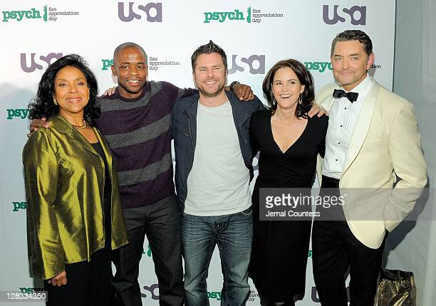 Actors Phylicia Rashad Dule Hill James Roday Ally Sheedy and Timothy Omundson pose for a photo at the Psych Season 6 premiere at Ziegfeld Theatre on...