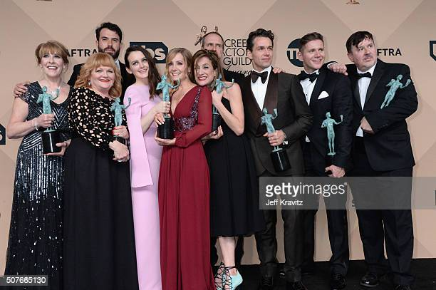 Actors Phyllis Logan, Lesley Nicol, Tom Cullen, Sophie McShera, Joanne Froggatt, Raquel Cassidy, Kevin Doyle, Julian Ovenden, Allen Leech, and Jeremy...