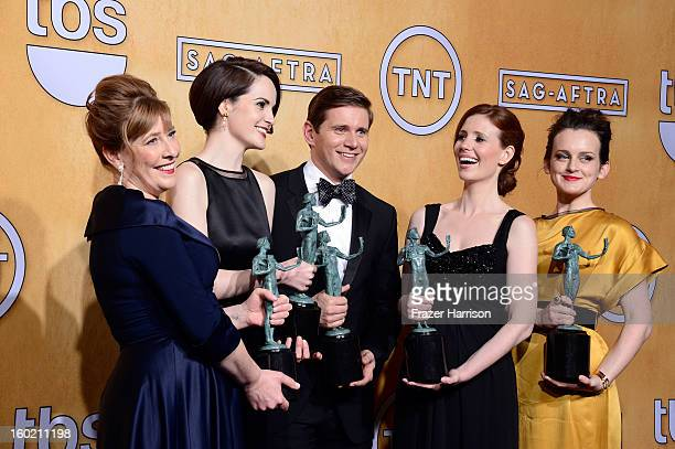 Actors Phyllis Logan Michelle Dockery Allen Leech Amy Nuttall and Sophie McShera winners of Outstanding Performance by an Ensemble in a Drama Series...