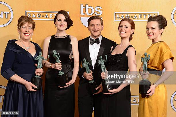 Actors Phyllis Logan Michelle Dockery Allen Leech Amy Nuttall and Sophie McShera attend the 19th Annual Screen Actors Guild Awards at The Shrine...