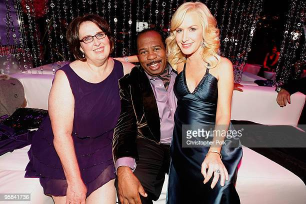 Actors Phyllis Smith, Leslie David Baker and Angela Kinsey attend the NBC Universal and Focus Features' Golden Globes after party sponsored by...