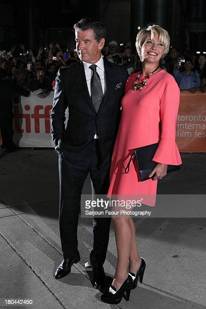 Actors Pierce Brosnan and Emma Thompson arrive at the 'Love Punch' premiere during the 2013 Toronto International Film Festival at Roy Thomson Hall...