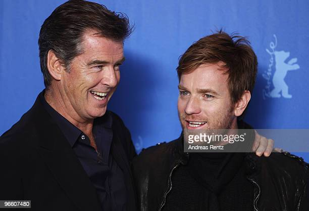Actors Pierce Brosnan and Ewan McGregor attend the 'Ghost Writer' Photocall during day two of the 60th Berlin International Film Festival at the...