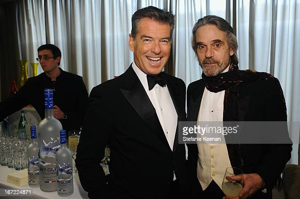 Actors Pierce Brosnan and Jeremy Irons attend the Grey Goose cocktail reception of The Film Society of Lincoln Center's 40th Chaplin Award Gala at...