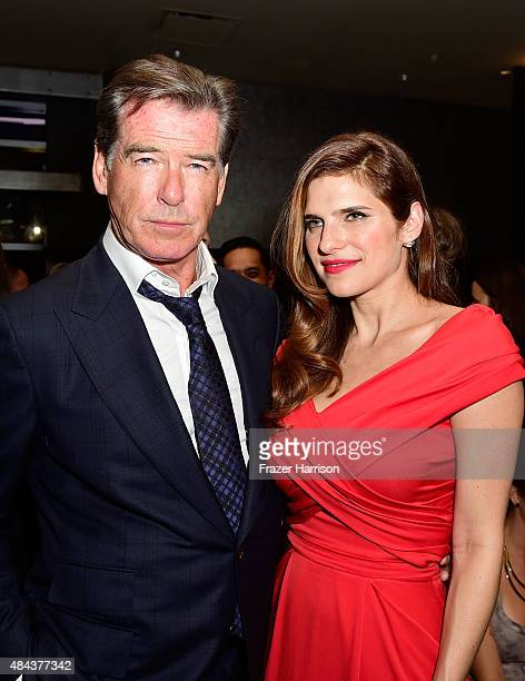 Actors Pierce Brosnan and Lake Bell attends the after party for the premiere of the Weinstein Company's 'No Escape' at WP24 by Wolfgang Puck on...