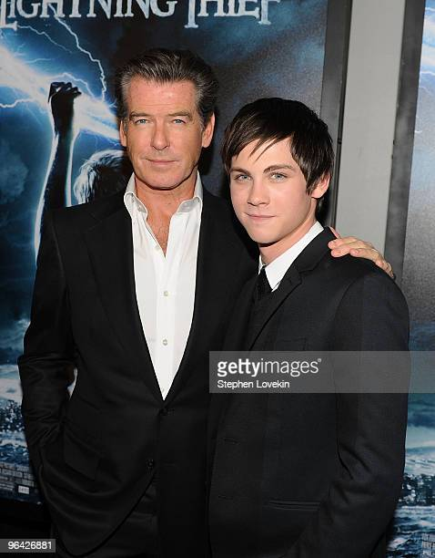 Actors Pierce Brosnan and Logan Lerman attend the premiere of Percy Jackson The Olympians The Lightning Thief at AMC Lincoln Square 13 on February 4...