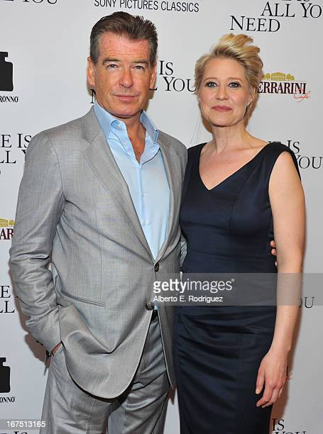 """Actors Pierce Brosnan and Trine Dyrholm arrive to the premiere of Sony Pictures Classics' """"Love Is All You Need"""" at Linwood Dunn Theater at the..."""