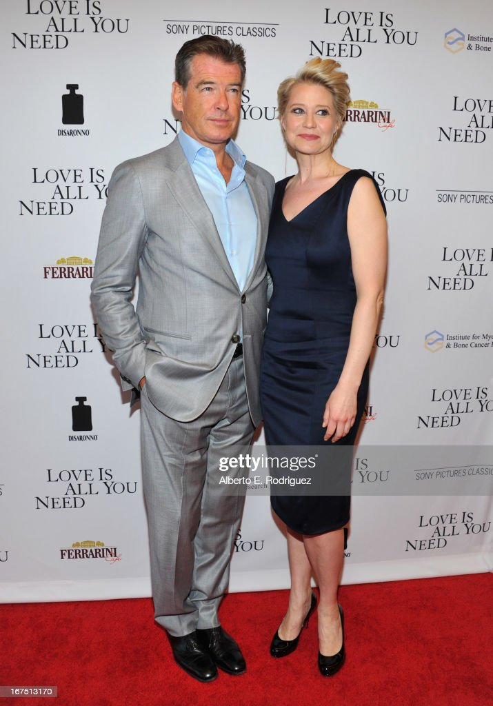 Actors Pierce Brosnan and Trine Dyrholm arrive to the premiere of Sony Pictures Classics' 'Love Is All You Need' at Linwood Dunn Theater at the Pickford Center for Motion Study on April 25, 2013 in Hollywood, California.