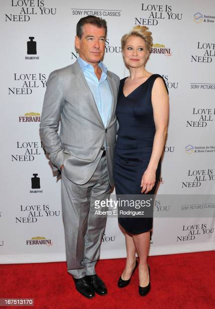 Actors Pierce Brosnan and Trine Dyrholm arrive to the premiere of Sony Pictures Classics' Love Is All You Need at Linwood Dunn Theater at the...