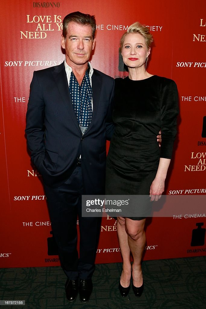 Actors Pierce Brosnan and Trine Dyrholm attend The Cinema Society & Disaronno screening of Sony Pictures Classics' 'Love Is All You Need' at Landmark Sunshine Cinema on April 24, 2013 in New York City.