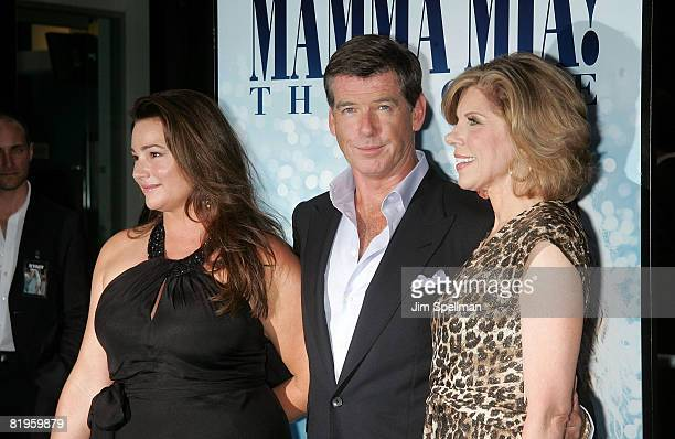 Actors Pierce Brosnan Christine Baranski and journalist Keely Shaye Smith attend the premiere of Mamma Mia at the Ziegfeld Theatre on July 16 2008 in...
