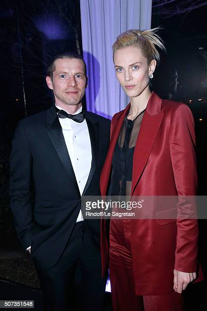 Actors Pierre Deladonchamps and Aymeline Valade attend the Sidaction Gala Dinner 2016 as part of Paris Fashion Week Held at Pavillon d'Armenonville...