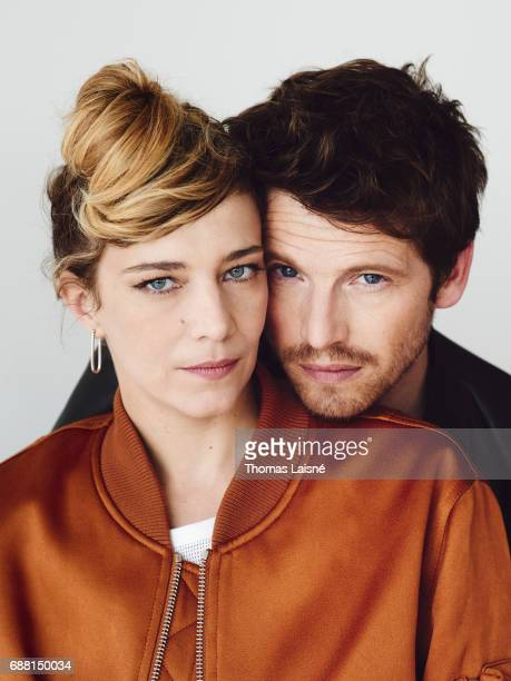 Actors Pierre Deladonchamps Celine Sallette are photographed on May 22 2017 in Cannes at Majestic Beach France