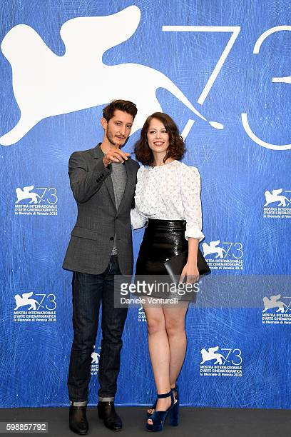 Actors Pierre Niney and Paula Beer attend the photocall of 'Frantz' during the 73rd Venice Film Festival at Palazzo del Casino on September 3 2016 in...