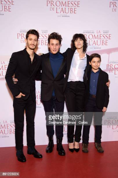 Actors Pierre Niney Charlotte Gainsbourg Pawel Puchalski and Nemo Schiffman attend the premiere of 'La Promesse De L'Aube' at Cinema Gaumont Capucine...