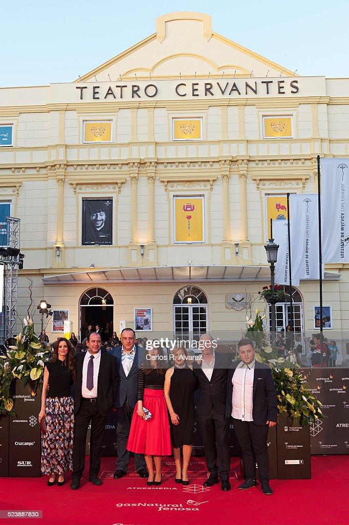 Actors Pilar Lopez de Ayala, Karra Elejalde, Fernando Albizu, director Manuela Burlo, Carmen Machi, Rafa Odorrika and Cristopher Torres attend 'Rumbos' premiere at the Cervantes Theater during the 19th Malaga Film Festival on April 24, 2016 in Malaga, Spain.