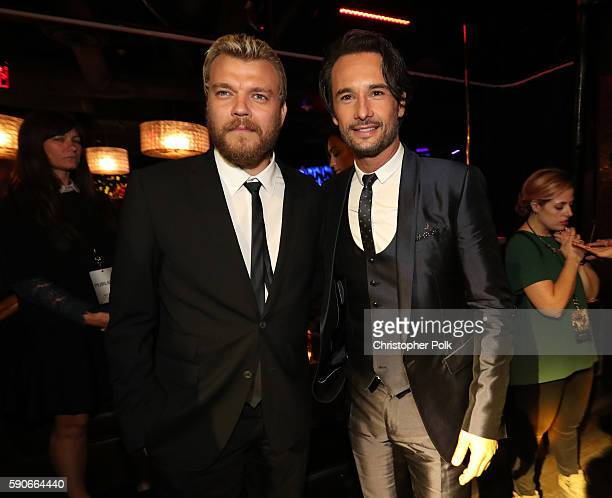 Actors Pilou Asbæk and Rodrigo Santoro attend the afterparty for the LA Premiere of the Paramount Pictures and MetroGoldwynMayer Pictures title...