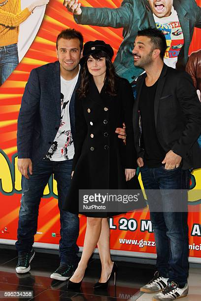 "Actors Pio D'Antini; Amedeo Grieco; Alessandra Mastronardi attends ""Friends as we"" photocall in Rome - Cinema Adriano"