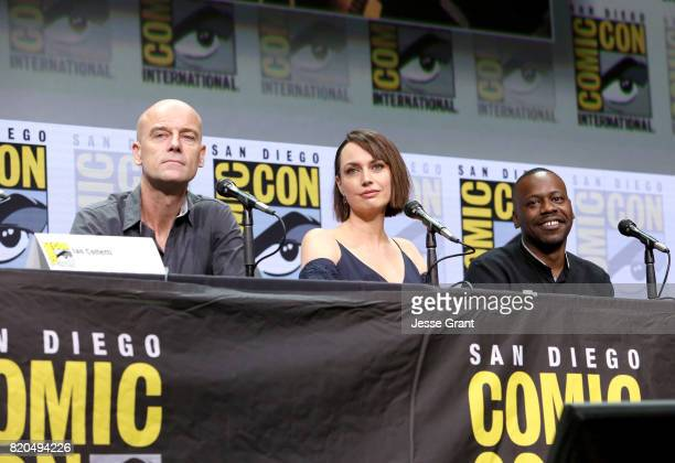 Actors Pip Torrens Julie Ann Emery and Malcolm Barrett speak onstage during the 'Preacher' Hall H panel at San Diego ComicCon International 2017 at...