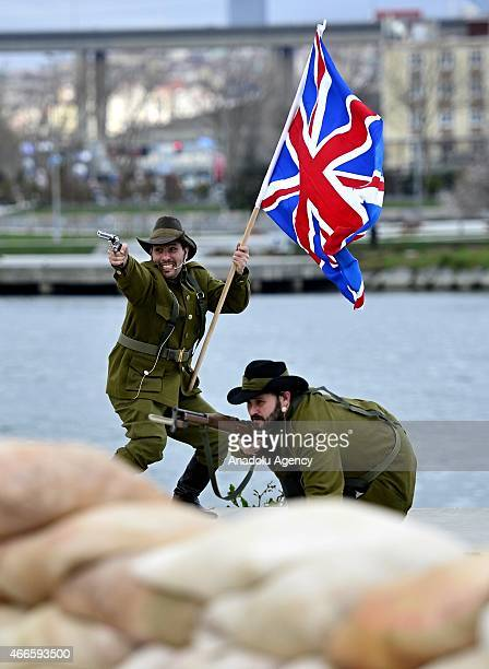Actors play at Halic public domain in Turkey's Istanbul on March 17 2015 to mark the 100th anniversary of March 18 Canakkale Victory and the Martyrs...
