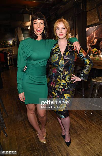 Actors Pollyanna McIntosh and Christina Hendricks attend SundanceTV's 'Hap and Leonard' Premiere Party at Hill Country Barbecue Market on February 25...