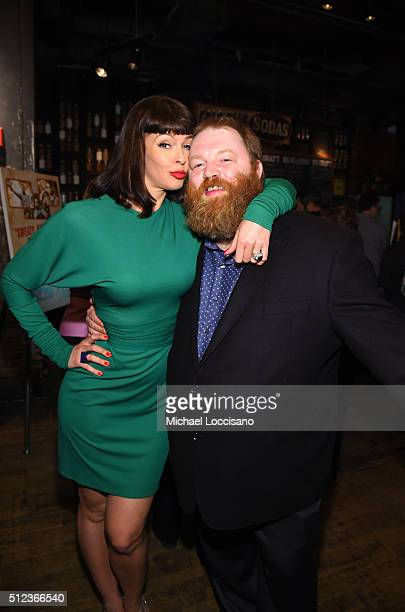Actors Pollyanna McIntosh and Jeff Pope attend SundanceTV's Hap and Leonard Premiere Party at Hill Country Barbecue Market on February 25 2016 in New...