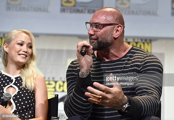 """Actors Pom Klementieff and Dave Bautista from Marvel Studios' 'Guardians Of The Galaxy Vol 2"""" attend the San Diego ComicCon International 2016 Marvel..."""